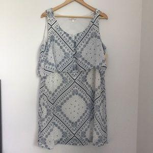 Halo White Blue Print Design Sleeveless Dress